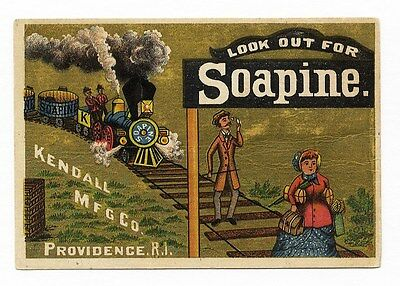 SOAPINE Soap Victorian Trade Card 1880's TRAIN Man on Tracks