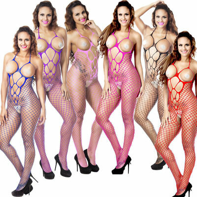 Colorful-Women's-Sexy-Lingerie-Fishnet-Body stockings-Dress-Nightwear-Babydoll