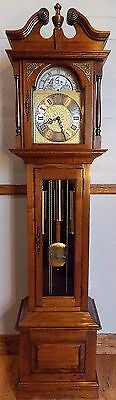 Grandfather Clock-lovely condition/exc working order/Wchime/solid walnut