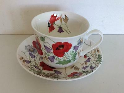 Roy Kirkham Fine Bone China Large Cup & Saucer English Meadow Red Poppies 2001