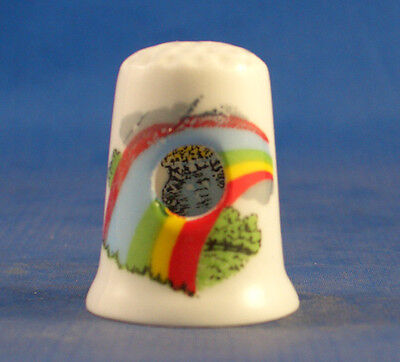 Birchcroft China Thimble -- Peephole - Crock of Gold in Rainbow -- Free Dome Box