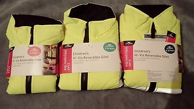 Crane Equestrian Girls Hi-vis Reversible Gilet. NEW.