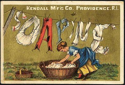 SOAPINE Spelled Out on CLOTHESLINE 1880's Victorian Trade Card Housewife Soap