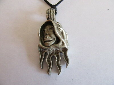 New Pewter Grim Reaper Necklace / Pendant With Adjustable Black Cord