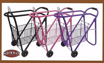 BLACK Saddle Rack Rolling Stand Wheels basket Stack Store Roll Away ShowmAN!
