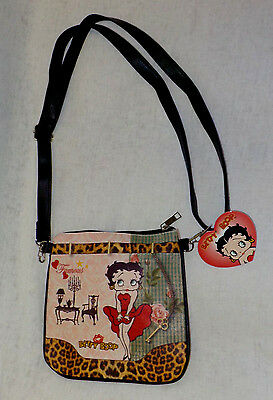 "Betty Boop Lady Purse NWT Multi Color 8"" X 8"" Strap Drop 25"" Adjust Faux Leather"