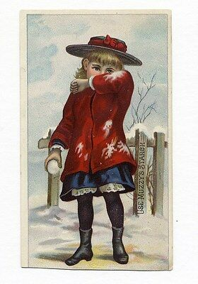 MUZZY'S CORN STARCH Victorian Trade Card Little GIRL with SNOWBALL Snow Winter