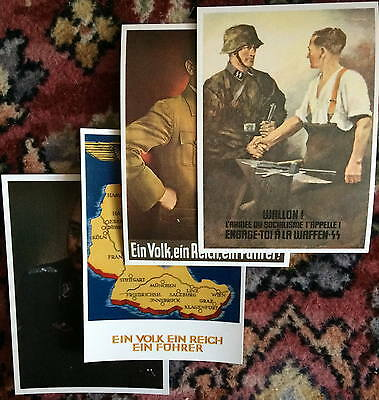 4x WW2 postcard repros Wehrmacht Axis Leon Degrelle NS Student Waffen 28th bn