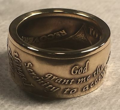 Full Serenity Prayer AA Token/Chip Sobriety Coin Ring