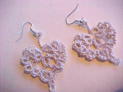 """Tatted Heart Earrings Dove Country Tatting Cream Small 1 1/2"""" Victorian"""