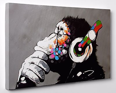 Banksy DJ Monkey Gorilla Chimp Canvas Print Wall Art Ready To Hang A1 A2 Large