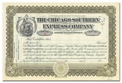 Chicago Southern Express Company Stock Certificate