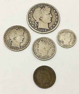 1908 D American Silver Coin Group Half Quarter Dollar One Dime Five One Cent Lot