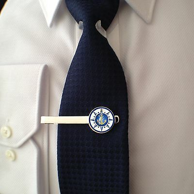 Nautical Anchor Compass - Tie Clip  - 3D Glass Lens Front - Fathers Day Gift