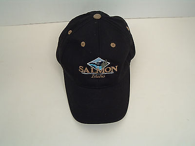Salmon Idaho black  hat cap embroidered front fly fishing outdoors Imperial hat