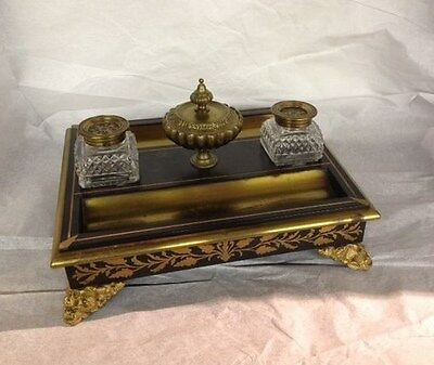 Antique Ink Well, Neopoleonic style, Buell type, Brass Overlay,1800-1850, France
