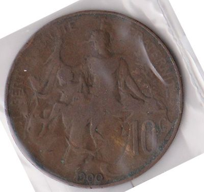 (H59-88) 1900 France 10 CENTIMES coin