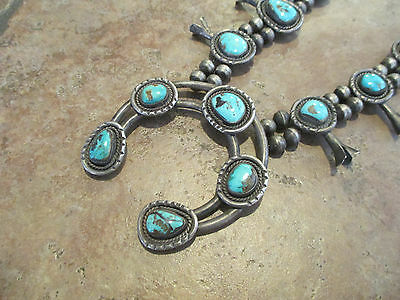 TRUE OLD PAWN Navajo Sterling Silver PREMIUM Turquoise SQUASH BLOSSOM Necklace
