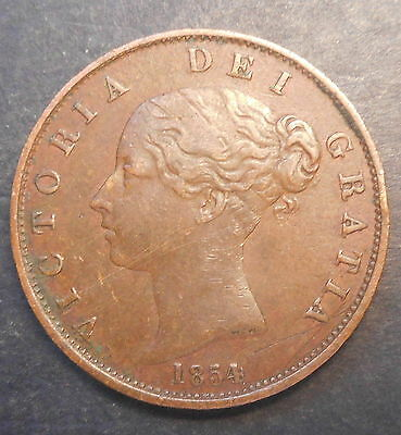 Great Britain 1854 Victoria  Halfpenny NICE good  Grade