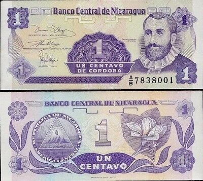 NICARAGUA 🇳🇮 1 Centavo Banknote, 1991, P-167, NEW UNC World Currency