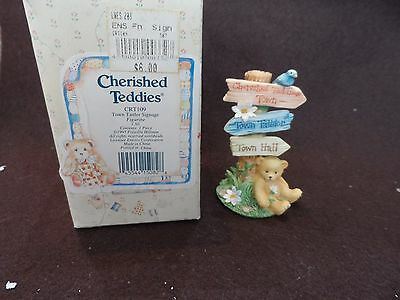 Cherished Teddies Town, Town Tattler, Town Hall Sign  CRT109