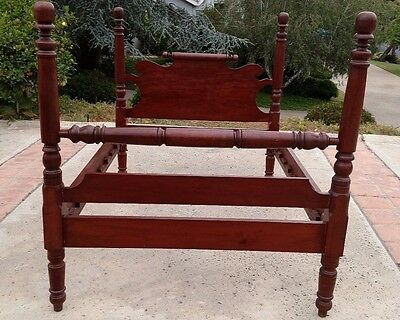 Full Size Antique Solid Cherry Cannonball Poster Bed with Blanket Roll