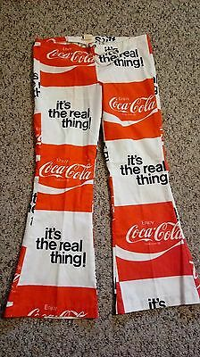 Vtg Coca-Cola Bell Bottom Pants~Size 11-13~Late 1960-70s~Drawstring Hip Huggers