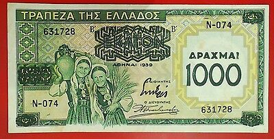 1939 Greece 1000 Drachmai OVERPRINT