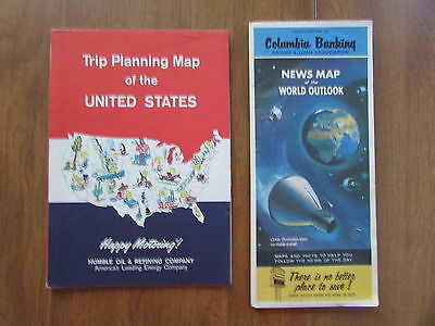 ZZ1705 VINTAGE 1960s HUMBLE OIL TRIP PLANNING MAP COLUMBIA BANK NEWS MAP U.S.