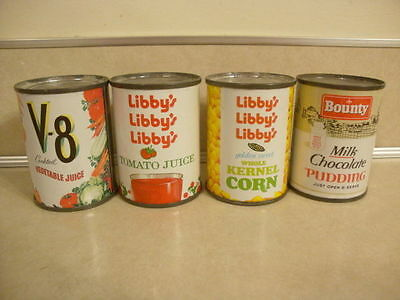 Vintage Sample Grocery Store Food Steel Cans Miniature Pudding V-8 Corn Juice!