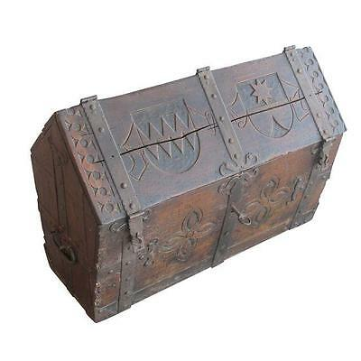 ANTIQUE 17th Centry Dutch Peaked Armorial Carving Chest Box w/KEY Inner Drawers