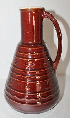 "VTG MARCREST DECANTER PITCHER Ovenproof Stoneware DAISIES & DOTS -Brown-10"" Tall"