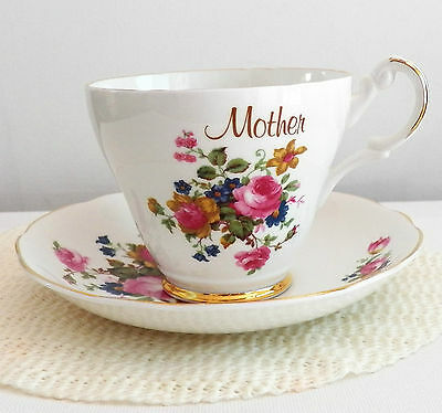 """Fine Bone China Argyle Tea Cup And Saucer Set """"mother"""" Made In England & Flowers"""