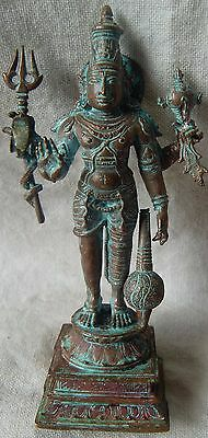 Hand Carved Indian Hindu Religious Lord Vishnu Holy Miniature Copper Statue Rare