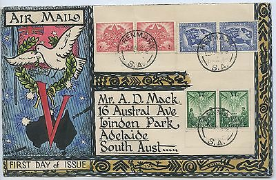 1946 Scarce (18Th Feb) Peace Stamps Hand Painted 1St Day Of Issue Air Mail G73