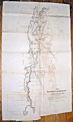 1849 Map Of French & English Grants On Lake Champlain ~ R.h. Pease