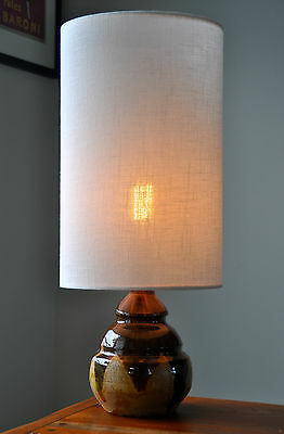 Danish Mid Century sweet Eames 'BUTTERDEJ' ceramic glazed Table Lamp & new shade