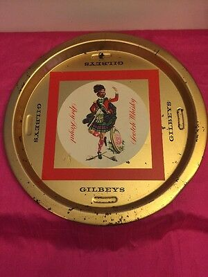 Vintage MCM Gilbeys Scotch Whisky Advertising Pub Tray MAN CAVE BAR as is