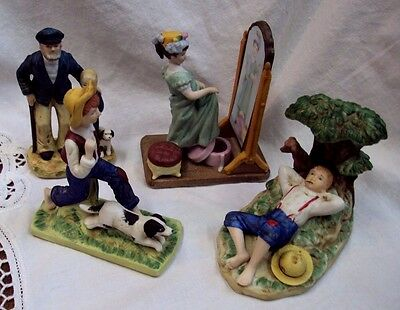 Lot/4 NORMAN ROCKWELL MUSEUM Figurines ALMOST GROWN UP Spring Fever OUT TO SEA +
