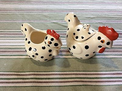 Vintage CHICKEN HEN ROOSTER ENESCO SUGAR AND CREAMER BLACK DOTS W/RED TRIM