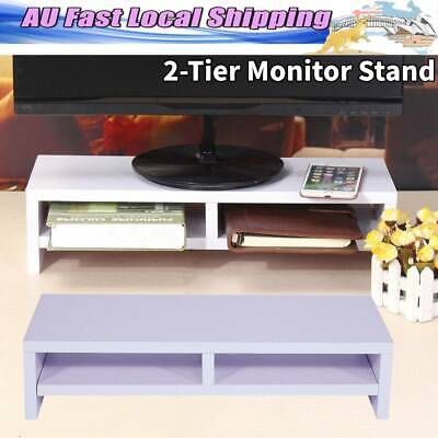 LCD TV Laptop Rack Desktop Monitor Stand Computer Screen Riser Shelf White AU SG