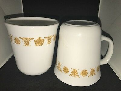 Vintage Corning Ware Corelle coffee mugs Butterfly Gold pattern set of 2 Cups