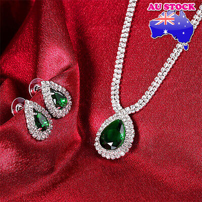 Bridal Prom Wedding Emerald Green Clear Crystal Silver Necklace Earrings Set