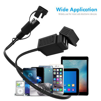 MICTUNING 3.1A Motorcycle SAE Cable Dual USB Adapter Waterproof Charger Socket