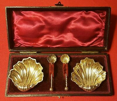c. 1900 Sterling Silver Open Salts With Spoons In Original Presentation Box