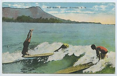 C1910 Pt Npu Postcard Surf Board Riding Honolulu Hawaii H2