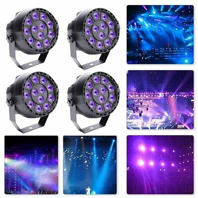 4PCS 12x3W UV Black Light Led Par Can Disco DJ Stage Wedding Uplighting Theater