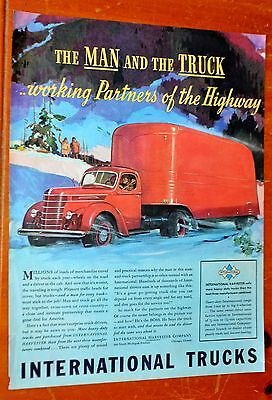 Beautiful 1939 International Semi Truck Driving In Snow Ad - 1930S Vintage Ih