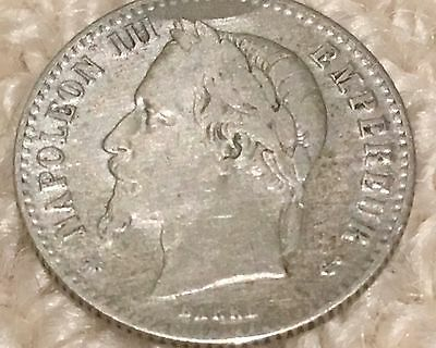 """France Empire 50 (Fifty) Centimes 1867 """"A"""" Paris Mint Silver French Coin"""