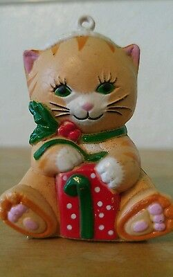 Vintage 1985 Tiger Cat Kitten Christmas Ornament Present Hat Holiday Collar